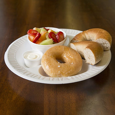 Bagels OR Muffins / Fruit / Doughnuts / Juice